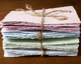 10 sheets of recycled handmade paper