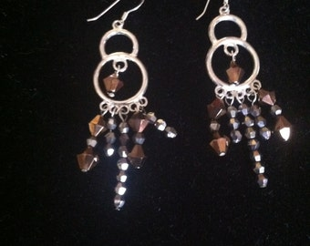 silver and swarovski crystal chandelier earring