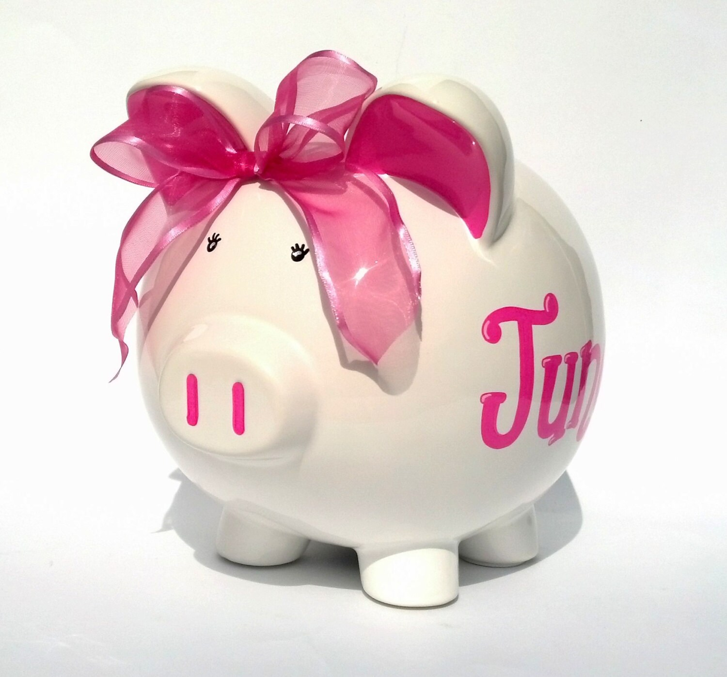 Personalized white ceramic piggy bank hand by samseldesigns for Create your own piggy bank