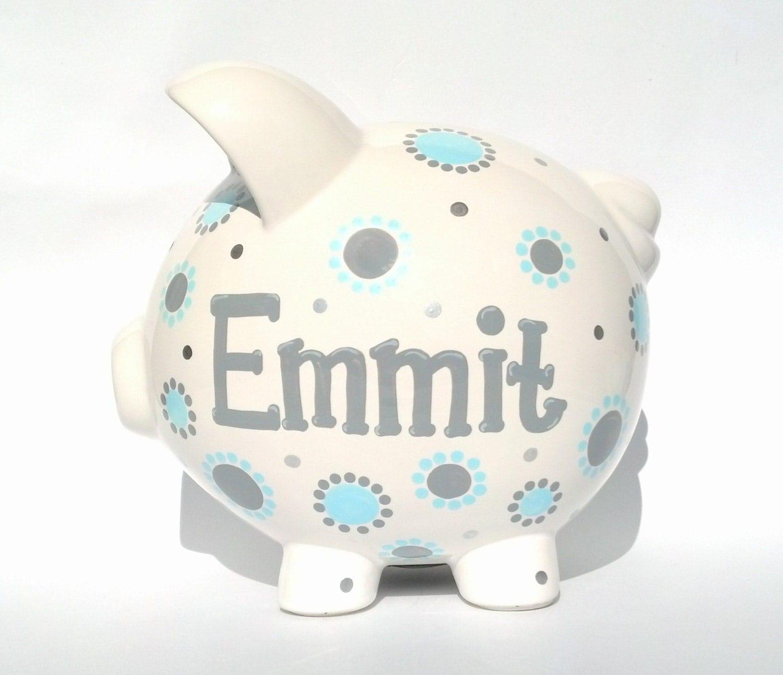Boys blue and gray piggy bank ceramic hand by samseldesigns - Ceramic piggy banks for boys ...