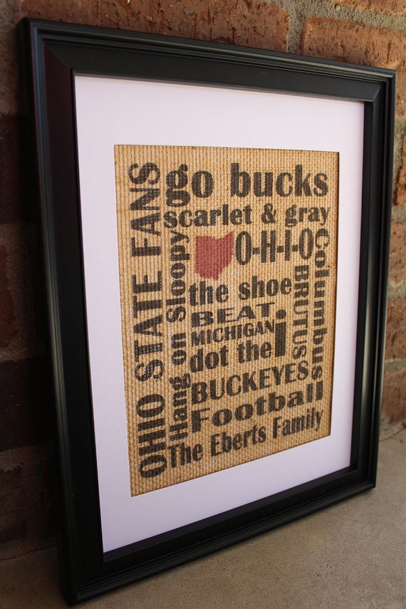 Ohio State Fans Subway Art Burlap Print With Family Name