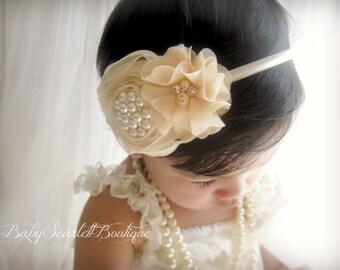 Creamy Flowers Baby Hard Headband,Toddler,Girl Hard Headband