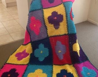 Bold Flowers Handmade Crochet Blanket II