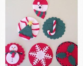 Christmas cupcake toppers X 12 -fondant/edible