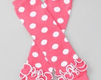 Coral pink polka dot leg warmers - salmon pink leg warmers