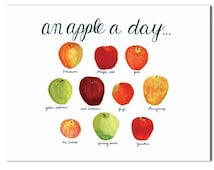 Apple a Day, Chart of apples, Apple guide, Watercolor, Recipe, Kitchen decor, Fruit art, Red Green Apples, doctors dental office, 5X7, 8X10