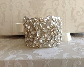 Crystal Silver Bridal bracelet Bridal crystal cuff