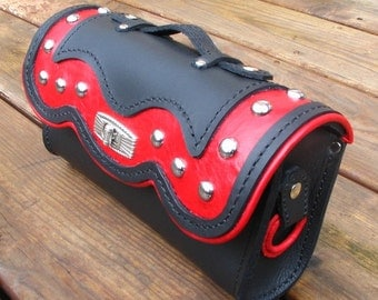 Custom Motorcycle Handlebar Pouch, Motorcycle Fork Bag, Convertible Purse,  Hand-stitched Leather, Red Leather Inlays, Sissy Bar Tool-Bag,