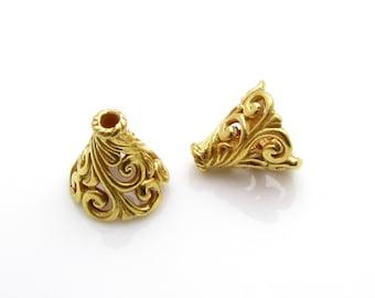 2 Pcs, 24k Gold Vermeil Cone