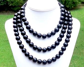Black Gemstone Beaded Necklace - Winnington - Chunky Triple Strand 14mm Round Black Glass Beaded Necklace - STATEMENT NECKLACE
