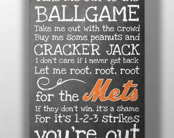 New York Mets- Take Me Out to the Ballgame Chalkboard Print