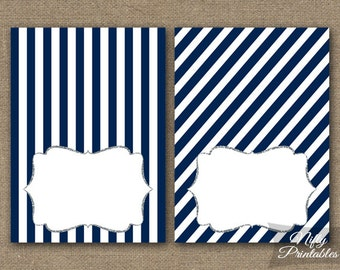 Navy Blue Food Tents - Blue Place Cards - Printable Silver Navy Tent Cards - Blue White Stripe Buffet Cards - Baby Bridal Shower Tents - NSG