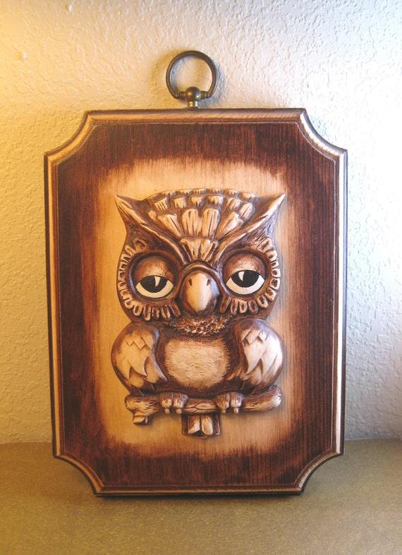 Wooden Owl Wall Decor : Retro wooden owl plaque vintage s wall decor