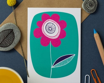 Green Flower Greetings Card