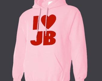 I LOVE JUSTIN BIEBER Hoodie all sizes many colors sweatshirt jumper hooded teenager