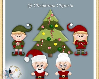 Christmas Clipart, Commercial Use Holiday Santa Claus, Mrs. Claus and Elves