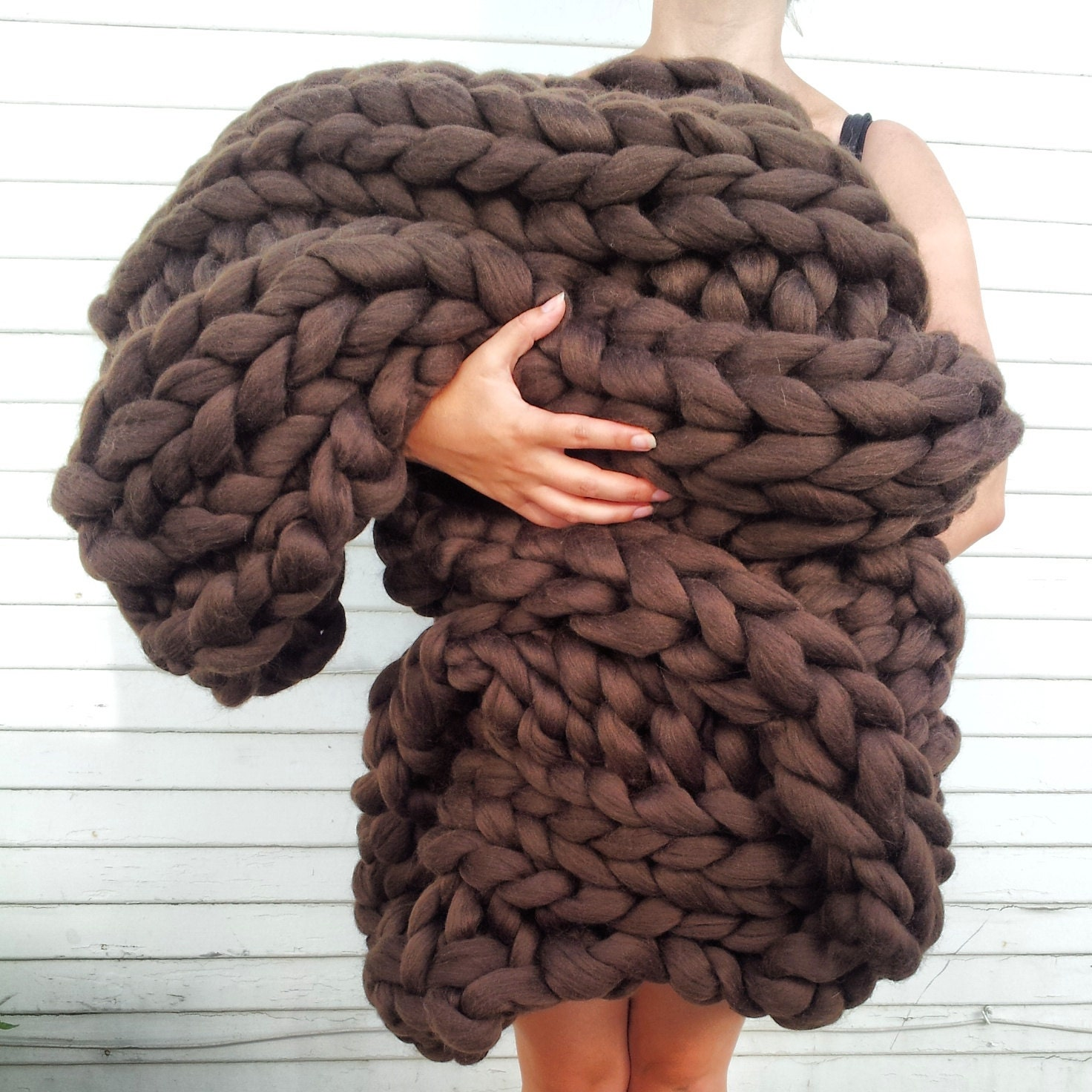 Super Chunky Knit Merino Blanket 40 X 58 Deep Brown Chunky