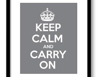 INSTANT DOWNLOAD Keep Calm and Carry On Grey Gray White Printable Bathroom Print Art Print Wall Decor Modern Minimalist