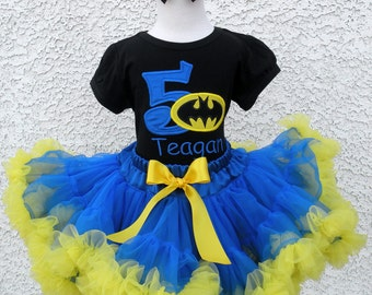 Batman Birthday Number Pettiskirt -Personalized Birthday Pettiskirt,Sizes 6m - 14/16