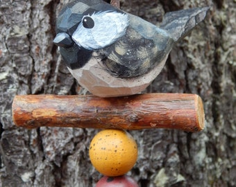 Hand Carved Bird (Chickadee) Ornament.