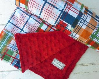 Minky baby blanket-Personalized boys red minky baby blanket in red & navy plaid-customized baby blanket with applique name-baby shower gift