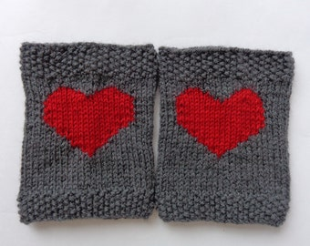 Grey Knitted Boot Cuffs With Plain Red Heart Socks, Boot Topper, Leg Warmer, Boot Covers - Choose Your Color