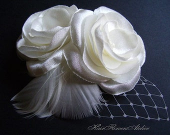 Ivory Bridal Hair Flower Ivory Headpiece Bridal Double Flower Ivory Hair Accessories Pearls Netting Wedding Hair Flower or Ivory Brooch