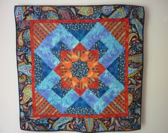 Hand quilted Eight Pointed Star Wall Hanging