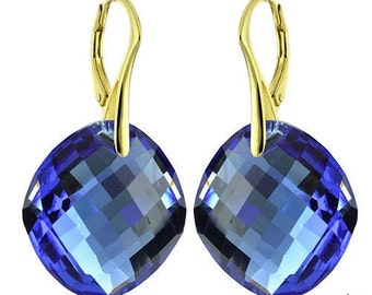 14k Gold Over 925 Sterling Silver Round Swarovski Crystal Leverback Earrings