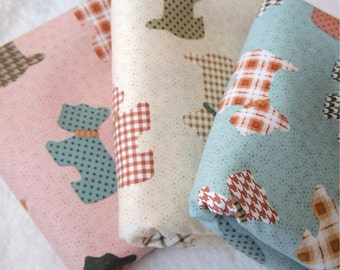 Cotton Fabric Cute Terrier In 3 Colors By The Yard