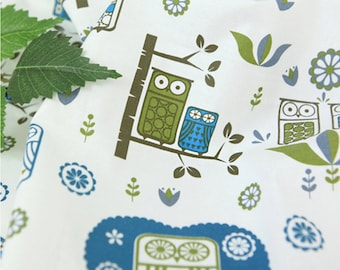 Cotton Fabric Owl White By The Yard