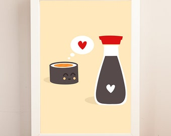 Sushi Print, Asian Food Print, Kitchen Art, Wall Decor