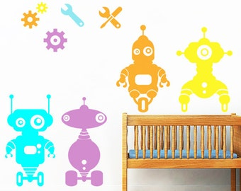 Robots- Wall Decal for Kids Rooms with Robots Stickers, Decal, Nursery Decoration ,Wall Stickers for kids, Robots Decals BIG ROBOTS STICKERS