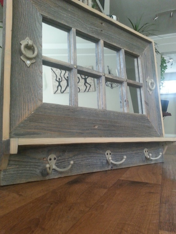 Entry Mirror With Shelf And Coat Hooks