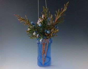 Sky Blue Fused Glass Vase