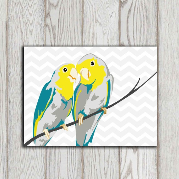 Bird print bird wall art printable teal yellow gray chevron for Teal wall art