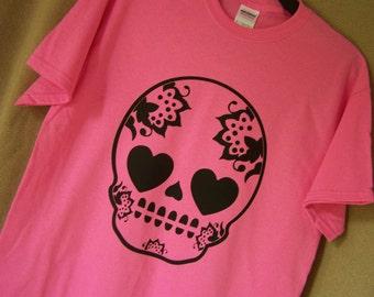 FLOWERED SUGAR SKULL Tshirt Sugar Skull Dia De Los Muertos Shirt