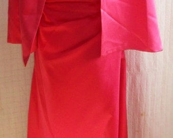 "Pink-""Material Girl ""Vintage Eve Gown & stole..Hollywood Glam, Wedding Dress"
