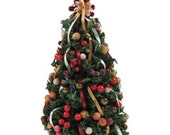 Miniature Christmas tree trimmed with abundant decorations and ornaments. - Minidecorandmore