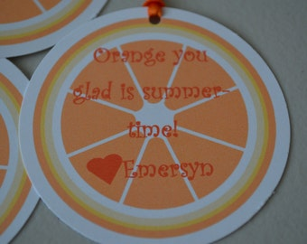 Orange You Glad It's Summertime - Thank You Tags - Teacher Thank You Tags - Set of 12
