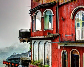 Red Building on Mist Covered Mountains - Jiu Feng, Taiwan - Fine Art Photographic Print