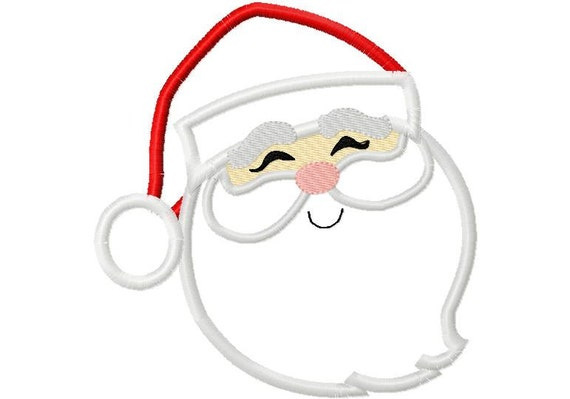 Santa Face 3 Christmas Applique Machine Embroidery Design 4x4 and 5x7
