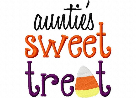 Aunties Sweet Treat Halloween Applique Machine Embroidery Design 4x4 and 5x7