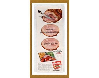 "1960 Morton Ham Dinner Color Print AD / Old Kentucky Recipe / 5"" x 13"" / Original Advertisement / Buy 2 ads Get 1 FREE"