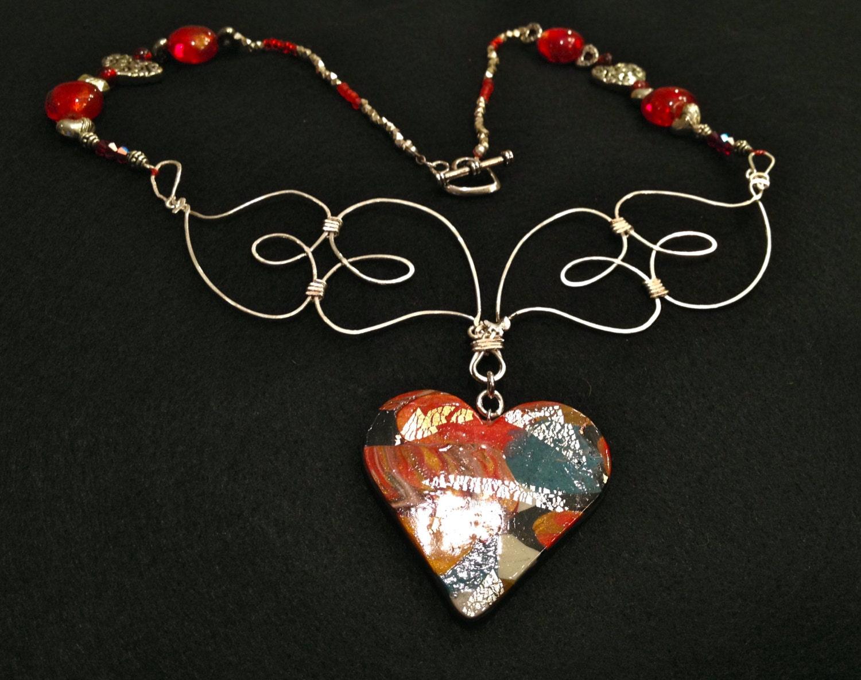 SJC10157 - Handmade necklace with contemporary multicolor polymer ...