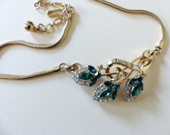 tunning Trifari Necklace on gold tone with green crystals SALE WAS 80.00 NOW 70.00