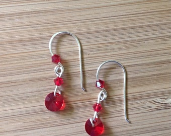 handmade sterling silver and red dangle earrings