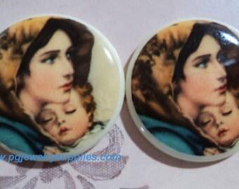 25mm round porcelain like plastic madonna and Jesus flatback cabochons cameos 2 pc lot l