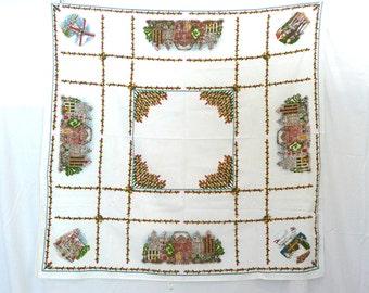 Vintage 1970s Pure Cotton Classic Dutch Tablecloth