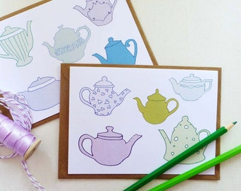 Teapot Note Cards | Hand drawn illustrations | Set of 4 A6 cards with kraft envelopes | Blank greetings card for your own message